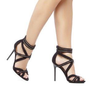 Shoe Dazzle Rina 7.5 Black Gold Strappy Pump